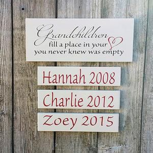 Great Grandparents Gift Fill a  place in your heart Mothers Day Gift for Great Grandparent Great Grandchildren Sign With Names