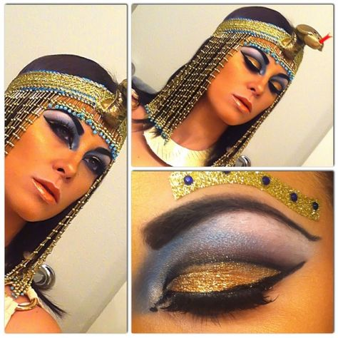 For Halloween this year, I went as Cleopatra. This makeup took about an hour to complete, and I used MANY products and brushes. The lid is gold glitter, wi