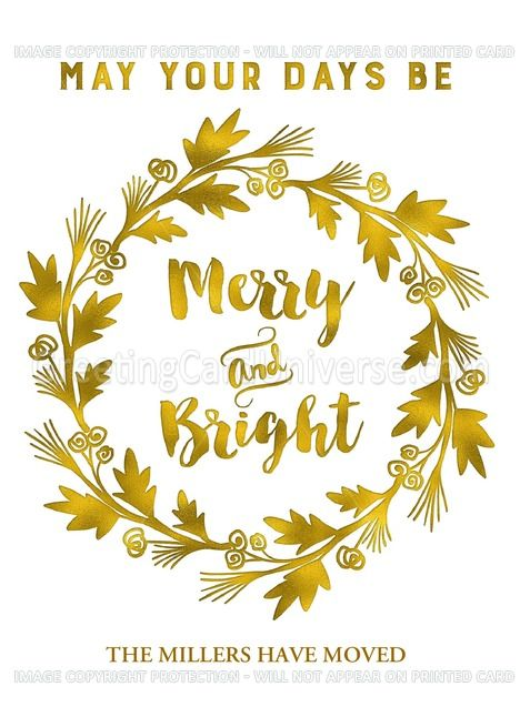 Gold Effect Wreath We Rsquo Ve Moved Christmas Custom Name Card Ad Spon Wreath Rsquo Gold Effect Custom Christmas Name Cards Greeting Card Artist