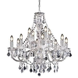 Empire Lighting 308 8+4CL Clarence 12 Light Traditional Chandelier Ceiling Pendant Light Clear Acrylic Finish