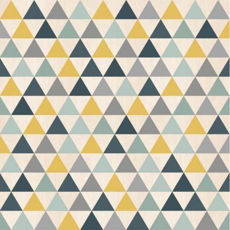 papier peint triangles bleu jaune et