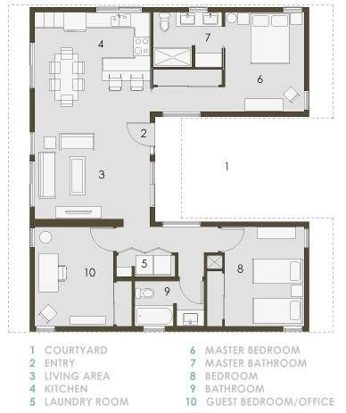 Home Floor Plans U Shaped Home Floor Plans Image Result For U Shaped House Plans With Central Courtyard Mo House Floor Plans U Shaped House Plans House Plans