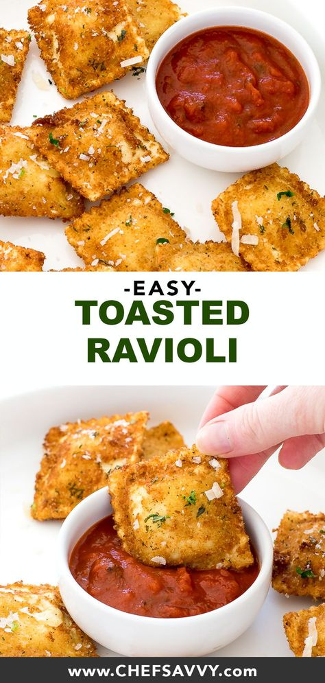 Toasted Ravioli. A super easy appetizer made with cheese ravioli fried until golden brown and topped with Parmesan cheese and fresh parsley. Serve with marinara sauce for dipping! Perfect party food for football season!   chefsavvy.com #ravioli #toasted #toastedravioli #italian #appetizer #recipe #appetizersappetizerrecipes