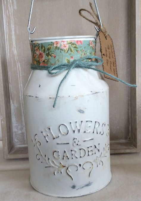 Hand painted in white this milk churn ha been given light distressed effect by DottyCottage1 on Etsy
