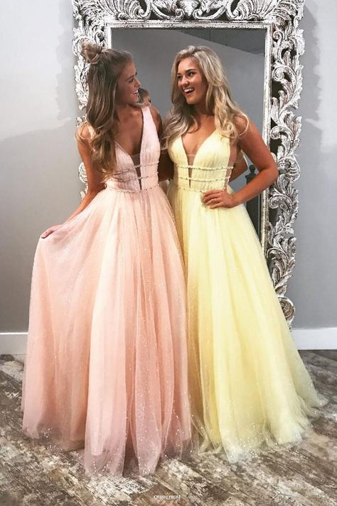 Buy Sparkly Long Prom Dress V Neck Tulle with Beading Formal Dress OP524 #promdressespink #promdressesyellow #sparklypromdresses