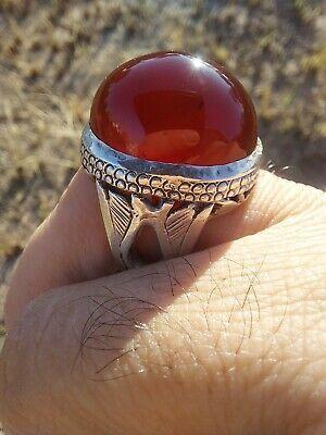 AntiqueVTG Tribal Silver Agate Aqiq Red Stone Ring