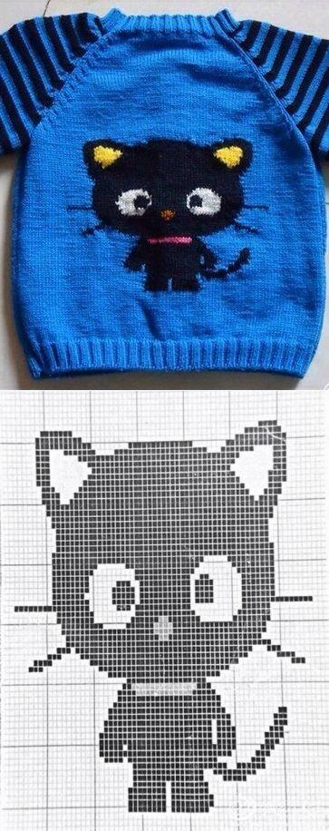 Детский свитер с рисунком кошки на спицах