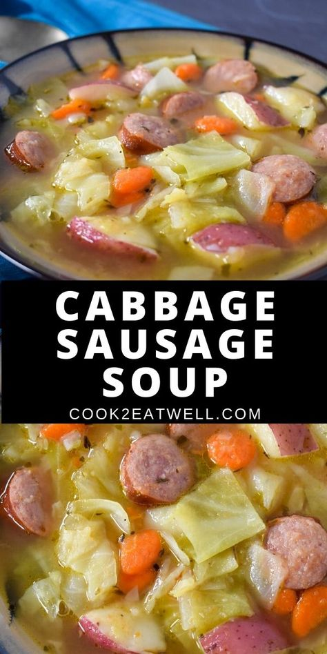 This cabbage sausage soup is hearty easy to make and delicious. In this soup kielbasa sausage green cabbage potatoes carrots and celery are combined with herbs and spices to create a nourishing and satisfying soup. Kielbasa Soup, Kielbasa And Cabbage, Kielbasa Sausage, Cabbage And Potatoes, Sausage Soup, Cabbage Sausage Potato, Cabbage Soup Recipes, Easy Soup Recipes, Crockpot Recipes