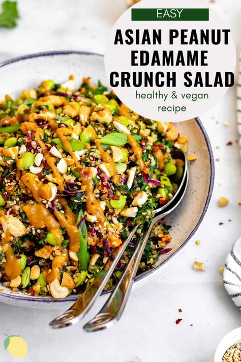 Need a quick and healthy lunch? This Asian peanut edamame salad is for you! This easy recipe is loaded with quinoa, edamame, fresh veggies and a simple peanut butter dressing recipe. It's perfect for meal prep, is naturally gluten free, vegan, and full of flavor. #edamamesalad #healthysalad #eatwithclarity #asiansalad #peanutsalad