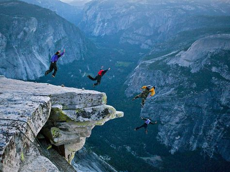 Base jumping at Yosemite.