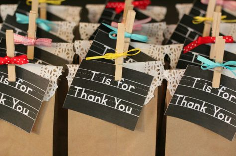 thank you favor bags for vintage schoolhouse alphabet themed baby shower
