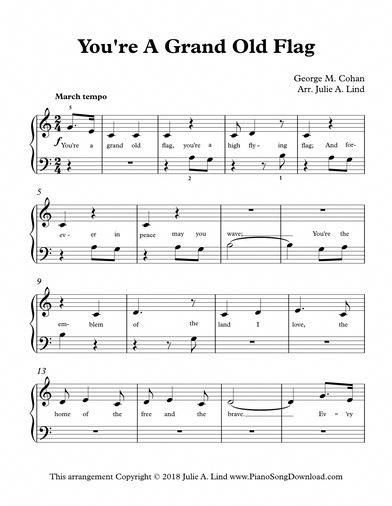 You Re A Grand Old Flag Easy Patriotic Sheet Music For Beginning Piano Lessons Sheet Music Piano Songs For Beginners Music Theory Piano