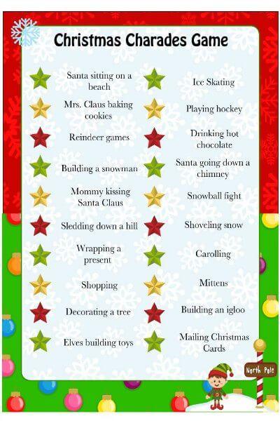 Fun Christmas Party Games Christmas Games Ideas For Everyone Christmas Charades Game Christmas Charades Fun Christmas Party Games