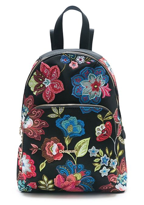 new arrivals official images lower price with Desigual Lima Caribou floral painted backpack | Trend FW18 ...