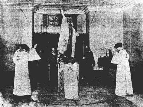 the only known photograph of a Satanic ritual being performed in the Temple at The Abbey of Thelema
