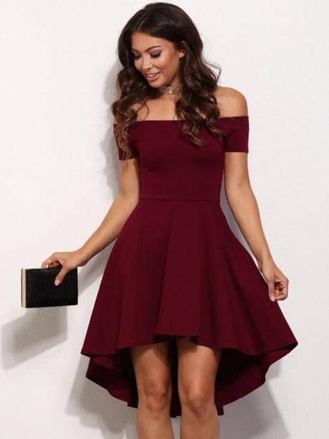 Women's Fashion High Waist Sexy Slim Solid Color Slash Neck Short Sleeve Mini A Line Dress dresse...