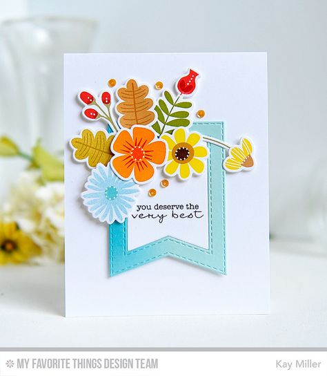 Fall Florals, Delicate Pretty Poppies, Fall Florals Die-namics, Stitched Fishtail Frames Die-namics - Kay Miller #mftstamps