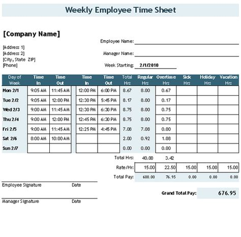Download the Time Sheet Template with Breaks from Vertex42 - employee timesheet