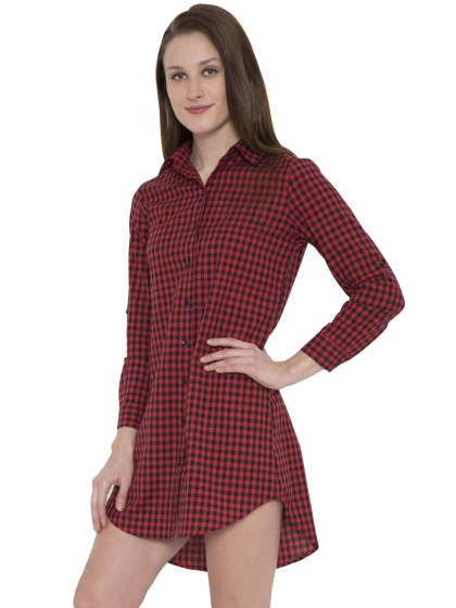 Red And Black Checkered Dress Shirt