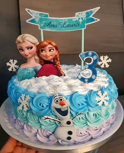 95 suggestions to enchant your guests - Birthday FM : Home of Birtday Inspirations, Wishes, DIY, Music & Ideas Frozen Themed Birthday Cake, Frozen Themed Birthday Party, 4th Birthday Cakes, Disney Frozen Birthday, Frozen Party Cake, Frozen Birthday Outfit, Disney Frozen Cake, Frozen 2, Turtle Birthday