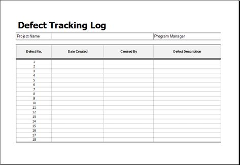Defect tracking log DOWNLOAD at http\/\/wwwxltemplatesorg\/defect - expenses report format