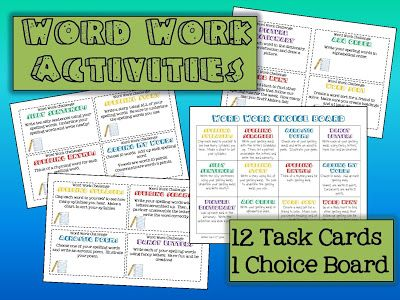 Word work task cards and choice board. READY TO GO for your Daily 5 ...