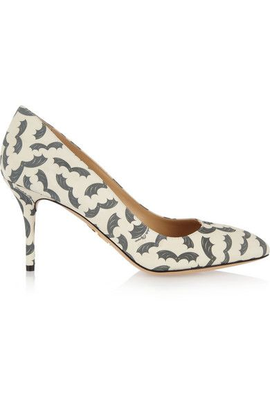 Charlotte Olympia Desiree Bat Print Suede Pumps