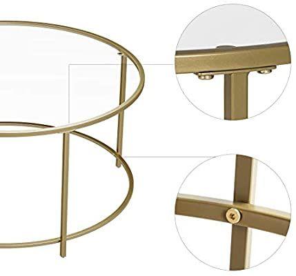 Vasagle Table Basse Ronde Plateau En Verre Trempe Armature Metallique Doree Table De Salon Bout De Canape En 2020 Table De Salon Table Basse Ronde Bout De Canape