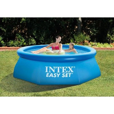 Intex 8ft X 30in Easy Set Inflatable Above Ground Family Swimming Pool No Pump Easy Set Pools Inflatable Swimming Pool Inflatable Pool