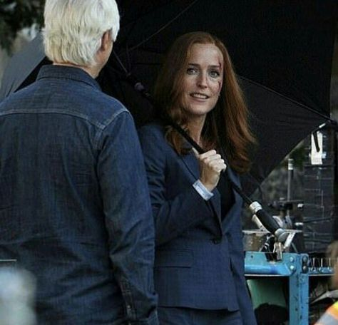 Chris Carter & Gillian Anderson  on the set of The X Files