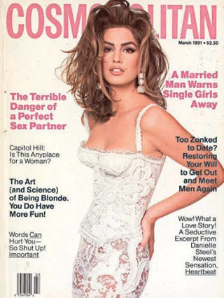 In honor of Cosmopolitan's anniversary, Cindy Crawford posted this photo of her on cover in