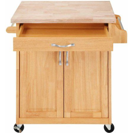 Mainstays Kitchen Island Cart With Drawer And Storage Shelves Natural Walmart Com Dorel Living Kitchen Roll Rolling Kitchen Island