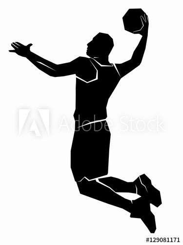 Silhouette Of A Basketball Player Vector Drawing Basketball Drawings Basketball Photos Basketball Silhouette