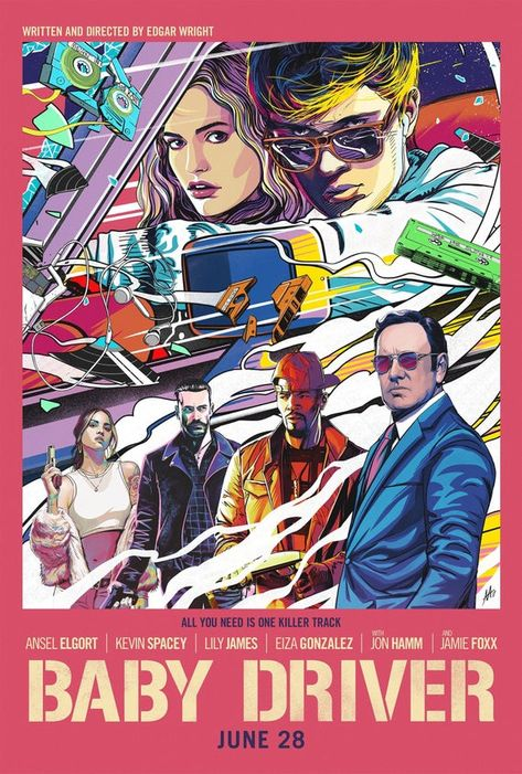 Baby Driver 2017 Ansel Elgort, Jon Bernthal, Jon Hamm, Jamie Foxx movie poster