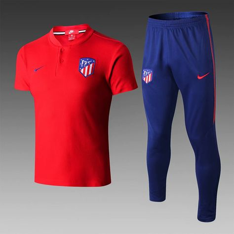 374d9ad4b96d Atletico Madrid 18 19 Red Cotton Mesh Polo Shirt (with long pants) -  zorrojersey