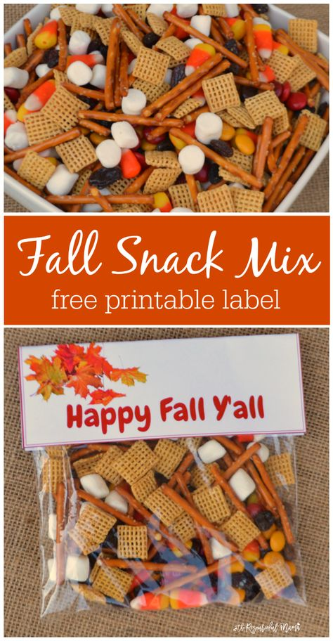 Quick and easy fall snack treat bag prefect for school snacks fall gatherings an., Quick and easy fall snack treat bag prefect for school snacks fall gatherings an parties. Grab a free printable label for your snack bags. Fall Snack Mixes, Fall Snacks, Fall Treats, Holiday Treats, Quick Snacks, Kids Snack Mix, Picnic Snacks, Simple Snacks, Christmas Desserts