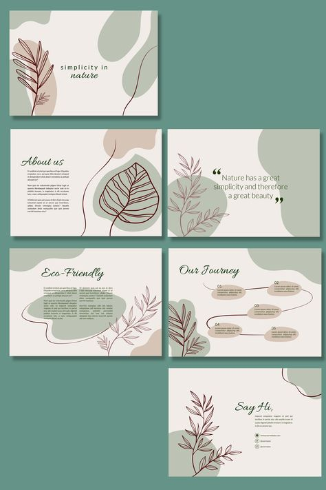 Perfect for business owners that run a nature theme products. This template consist of 12 pages. Focusing on organic shapes and lines and simplified script font that adds a touch of elegancy throughout the whole layout. Web Design, Layout Design, Graphic Design Layouts, Slide Design, Web Layout, Brochure Design Layouts, Corporate Brochure Design, Graphic Design Templates, Website Layout