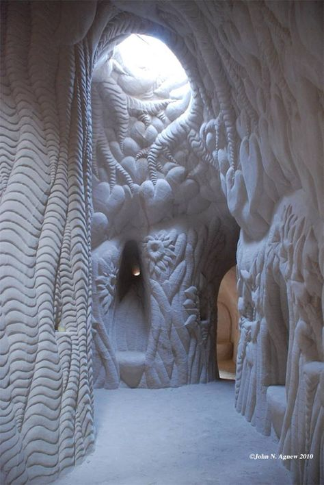 Hand carved cave of sandstone near Espanola, New Mexico known as The Tree Cave.  #caves #sandstone #carvings