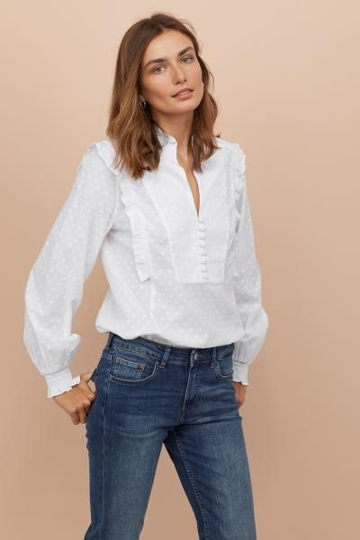 69c580d9e2 Stand-up Collar Cotton Blouse in 2019   Mood Board   Cotton blouses ...