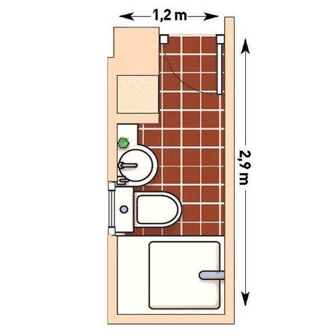 Plano de baño rectangular y estrecho