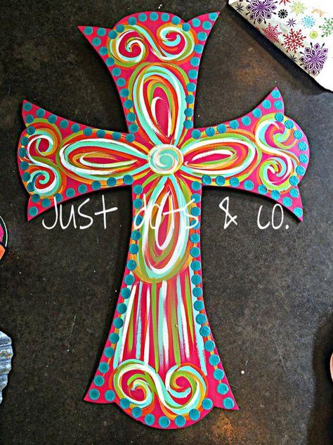 Large Cross Door Hanger / summer door hanger by JustDotsCo on Etsy