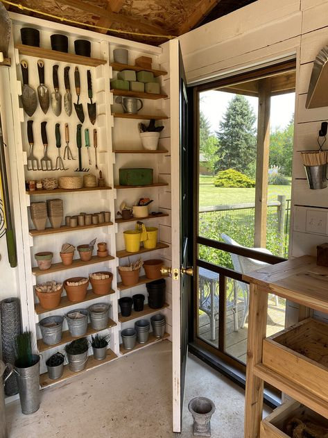 Garden Shed Makeover — Made on Big Design, Layout Design, Shed Organization, Shed Storage, Storage Ideas, Storage Shed Interior Ideas, Garden Shed Interiors, Cottage Garden Sheds, Shed Makeover