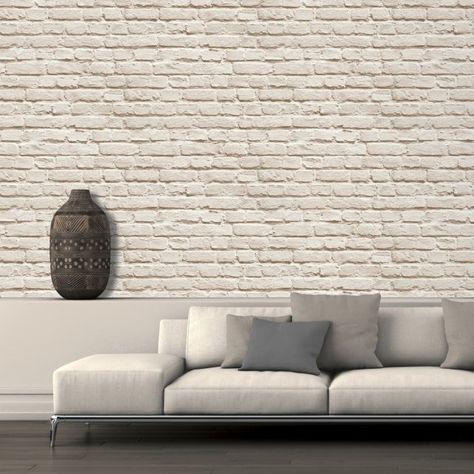 Un Papier Peint à Relief Imitation Brique Blanche Dans Le Salon