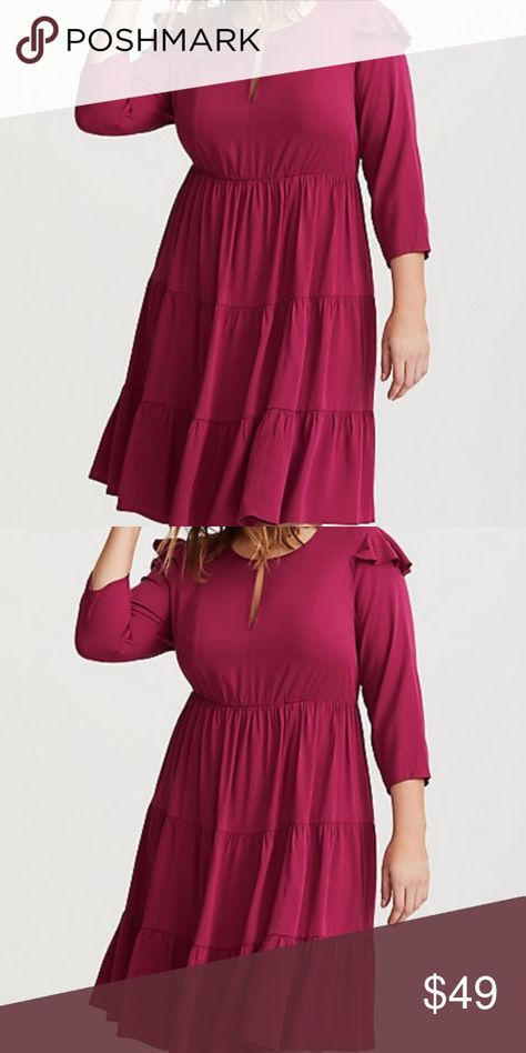 b26f300d2f5 Torrid Wine Challis Tiered Skater Dress Ruffle 2 Torrid Size 2 Wine Challis  Tiered Skater Dress Item  11191125 Retails  68.90 Purchased in 2018 It s a  dress ...