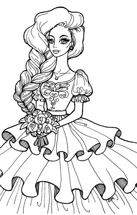 Wedding Princess By Https Olgamaletina Deviantart Com On Deviantart Abstract Coloring Pages Cute Coloring Pages Barbie Coloring Pages