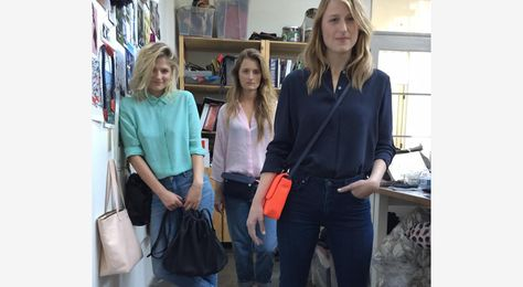 Meryl Streep's daughters together in ad campaign fave the White Perforated Cinch Sack not pic here sorry, go search!!