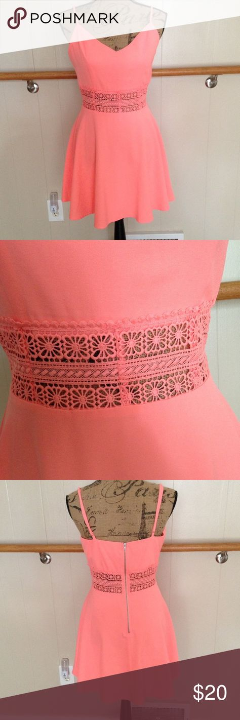 Coral Sundress NWT dress with midsection detail cutout & zipper in back. Straps are adjustable. Charlotte Russe Dresses