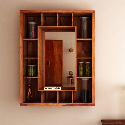 Buy Jaden Wall Shelf With Mirror Online In India Wooden Street In 2020 Shelves Wooden Street Wall Shelves