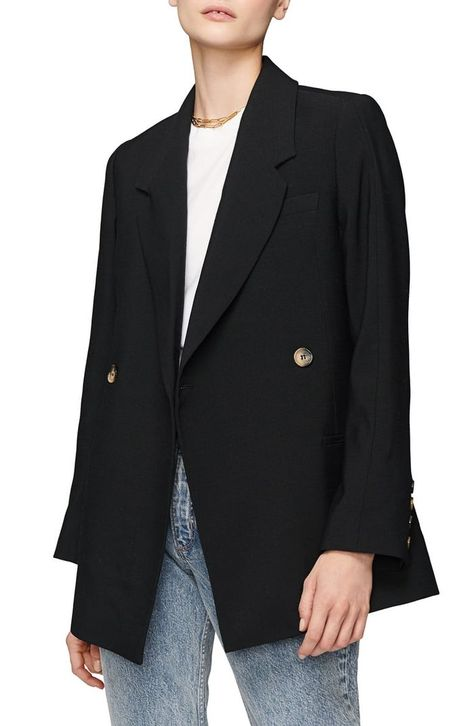 Anine Bing Kaia Double Breasted Knit Blazer