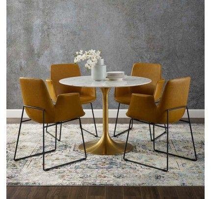 Tulip Dining Table With 40 Round Marble Top Gold Base 1 123 62